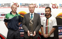 ICC World Twenty20 trophy in Dublin with newly appointed ICC President