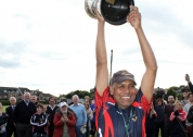 Naseer Shoukat with the RSA Irish Senior Cup.  Pic: Barry Chambers