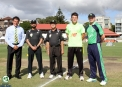 Captains and umpires at the toss with club President Mike Whitney ©Barry Chambers/Cricket Ireland