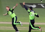 Kevin O'Brien picks up a wicket against Zimbabwe.