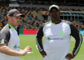 Captain William Porterfield in conversation with Coach Phil Simmons ©Cricket Ireland/Barry Chambers