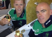 Trent & Kevin enjoy a glass of champagne on departure