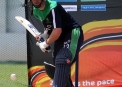 Alex Cusack first with the pads on © Cricket Ireland/Barry Chambers