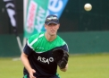 Andrew White limbering up © Cricket Ireland/Barry Chambers