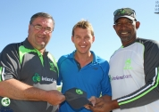 Brett Lee receives Irish cap from Roy Torrens and Phil Simmons