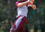 Ben McDermott (9 runs from 10 balls) follows through after driving straight © Steven Hight (AURA Images)