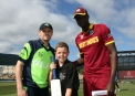 Captains with the mascot ©Cricket Ireland