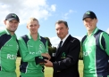 Eddie Richardson is given his ODI Cap at Stormont by Cricket Ireland President Robin Walsh © Barry Chambers