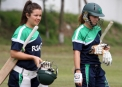 Emma Flanagan and Rebecca Rolfe  get ready to bat © Barry Chambers
