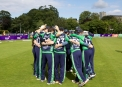 Ireland huddle before taking the field