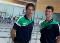Coach Ryan Eagleson and George Dockrell at Departures