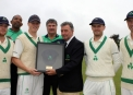 Kevin O'Brien receives a special presentation of his 200th Cap from Cricket Ireland © Barry Chambers