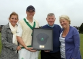 Kevin O'Brien with his commemorative 200th Cap and his parents and girlfriend. © Barry Chambers