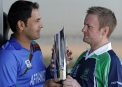 William Porterfield and Nawroz Mangal with the trophy before the match