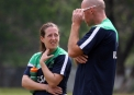 Skipper Isobel Joyce chats with Coach Trent Johnston  © Barry Chambers