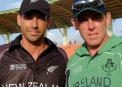 Trent Johnston with New Zealand captain Stephen Fleming at the 2007 World Cup © Barry Chambers