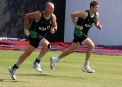 Trent Johnston & Boyd Rankin training at the 2011 World Cup © Barry Chambers