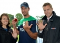 Max Sorensen celebrates his five-wicket haul with Sky Sports presenters