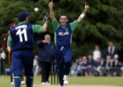 Trent Johnston celebrates a wicket against the West Indies at Stormont in 2004 © Inpho