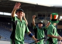 The Ireland team salute the crowd after their historic win over Pakistan at the 2007 World Cup © Inpho