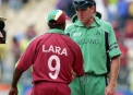 Trent Johnston shakes hands with West Indies legend Brian Lara  © Inpho