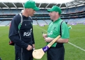Trent Johnston and Kilkenny hurling legend DJ Carey discuss cricket at Croke Park © Inpho