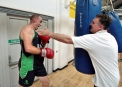 Team Ireland boxing coach Billy Walsh puts Trent through his paces © Inpho