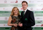 Ann Harris presents the Sunday Independant Aengus Fanning Emerging Player of the Year award to Craig Young ©INPHO/Ryan Byrne