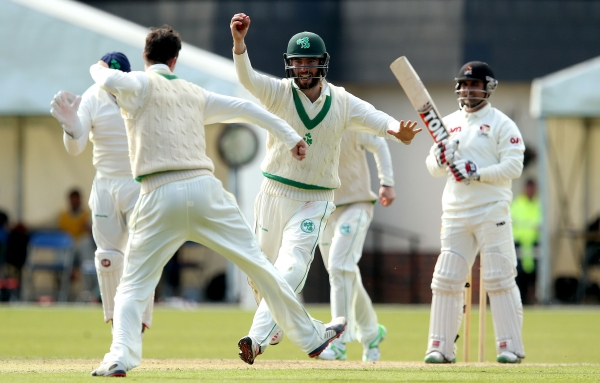 Andrew Balbirnie celebrates as Ireland beat the UAE in their InterContinental Cup opener.