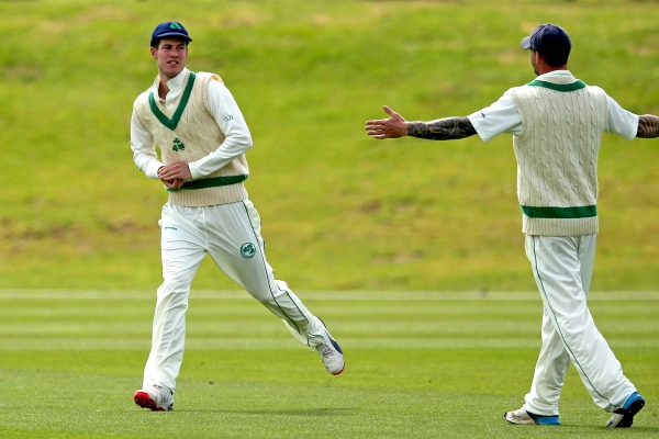 George Dockrell with a catch to win the match at Malahide.