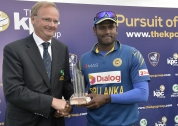 Sri Lanka captain Angelo Matthews & Cricket Ireland President Henry Tighe