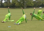Pakistan team stretching before training
