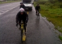 John Mooney joined the lads on the bikes for the 90 mile journey to Armagh in driving rain
