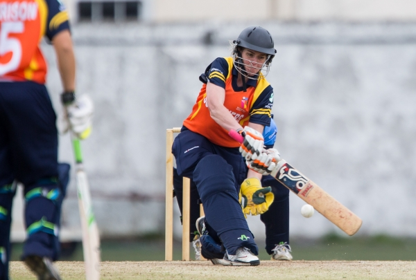 Meg Kendal hits powerfully to the leg side