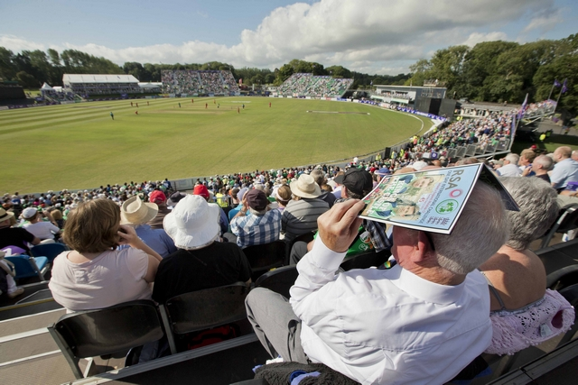 Malahide in international match mode (Ireland v England, ODI, 2013). Image credit INPHO-Morgan Treacy.